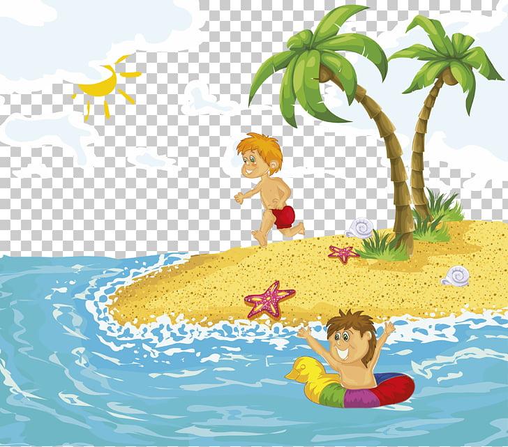 Cartoon beach swimming.
