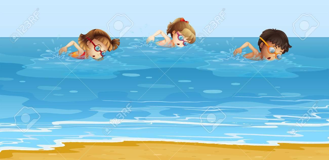 Children swimming the.