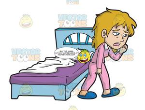 A Sleepy Woman Walking Away From Her Bed