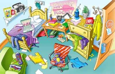 Bedroom clipart messy.