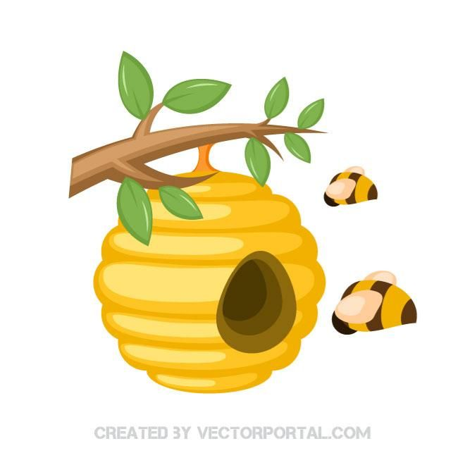Bee hive clipart illustration. Bee hive clipart illustration. Honey bees in a