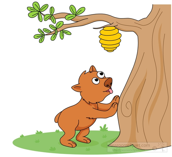 Beehive on a tree clipart