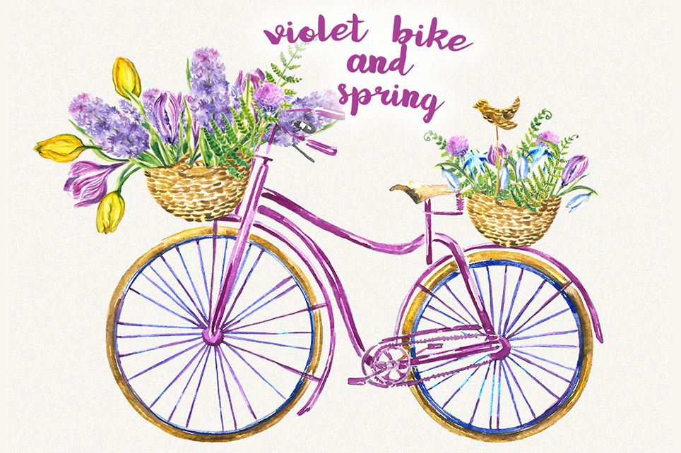 bicycle clipart floral