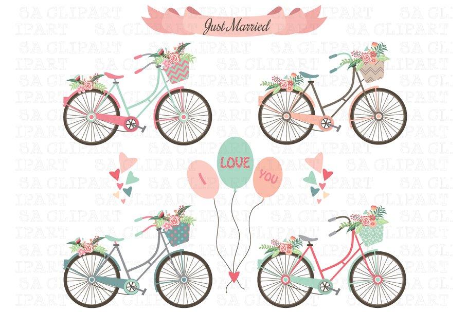 bicycle clipart wedding