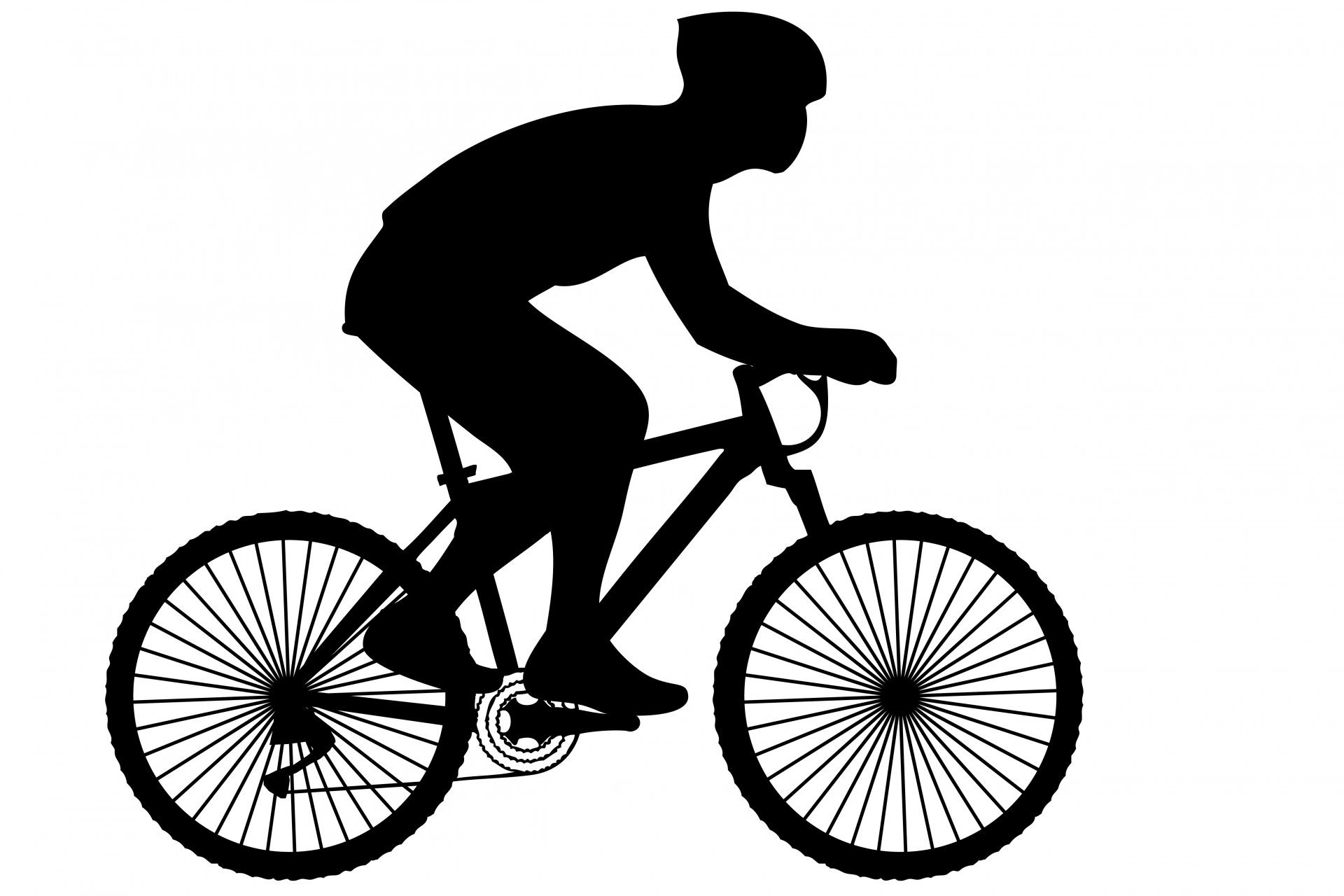 Bicycle clipart cycling. Black silhouette of a