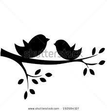 Birds branch silhouette.