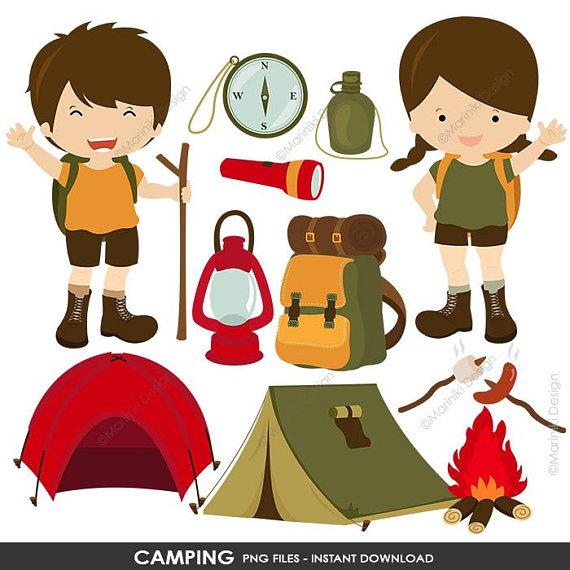 Camping Clipart, Tent, Hiking, Campfire, Bonfire, Camping