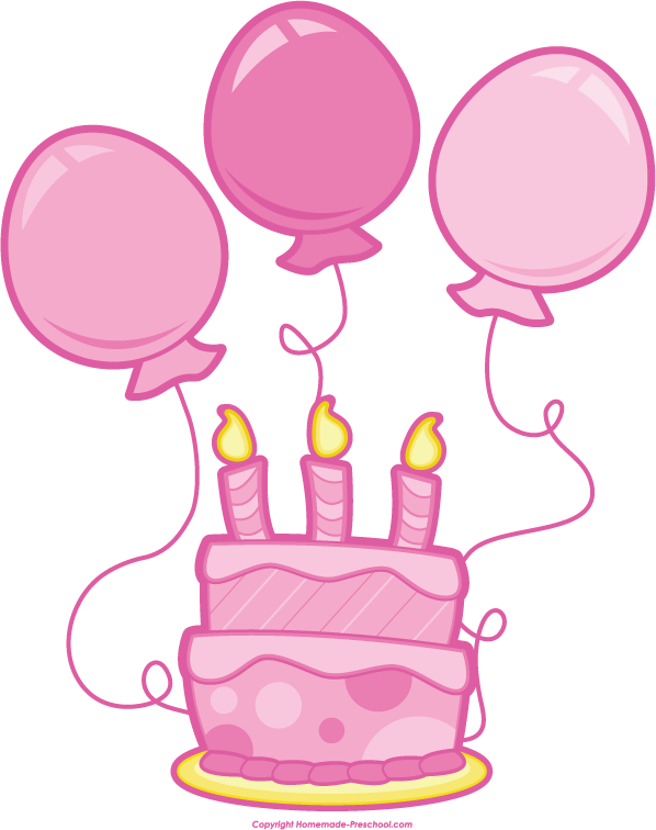 Pink birthday balloons.