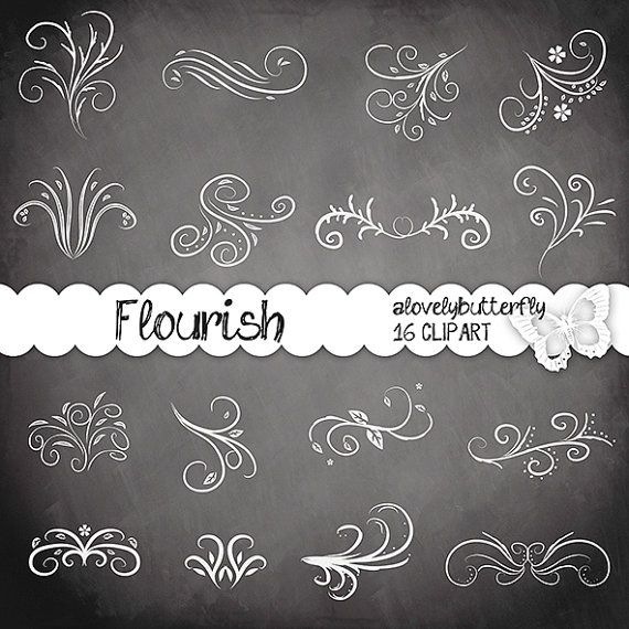 Flourish swirls clip.