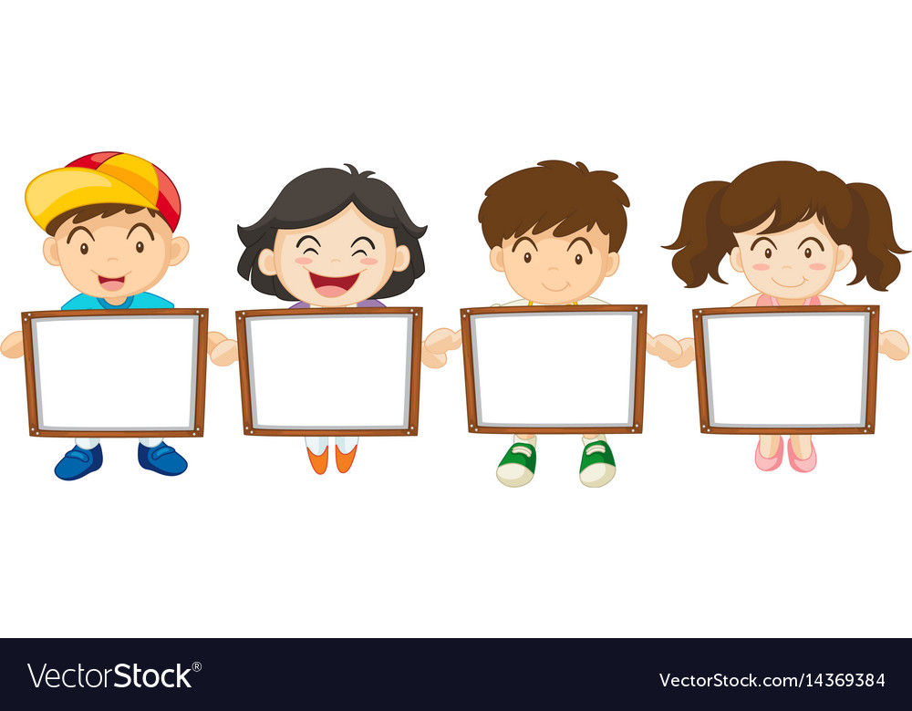Kids holding white board