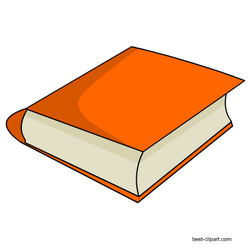Free orange book clipart image with transparent background