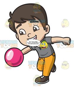 An Energetic Boy Enjoying The Game Of Bowling
