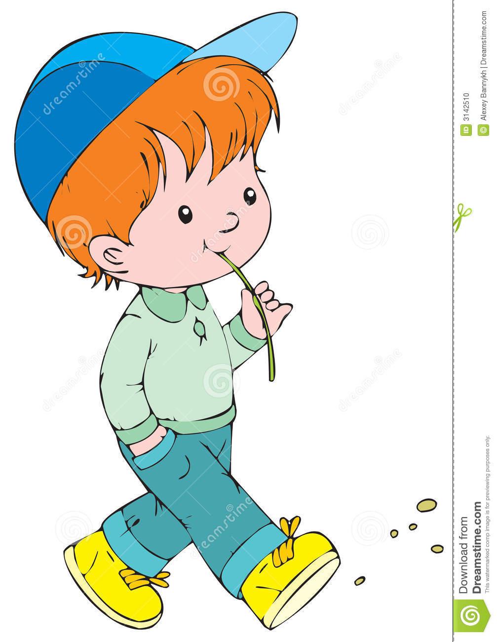 Little boy walking.