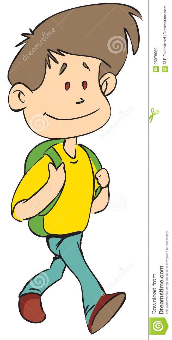 Walking school boy.