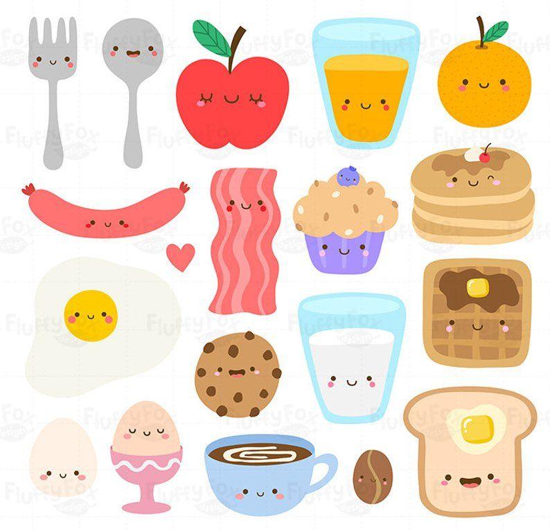 Kawaii breakfast clipart.