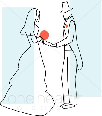 Modern bride and groom clipart