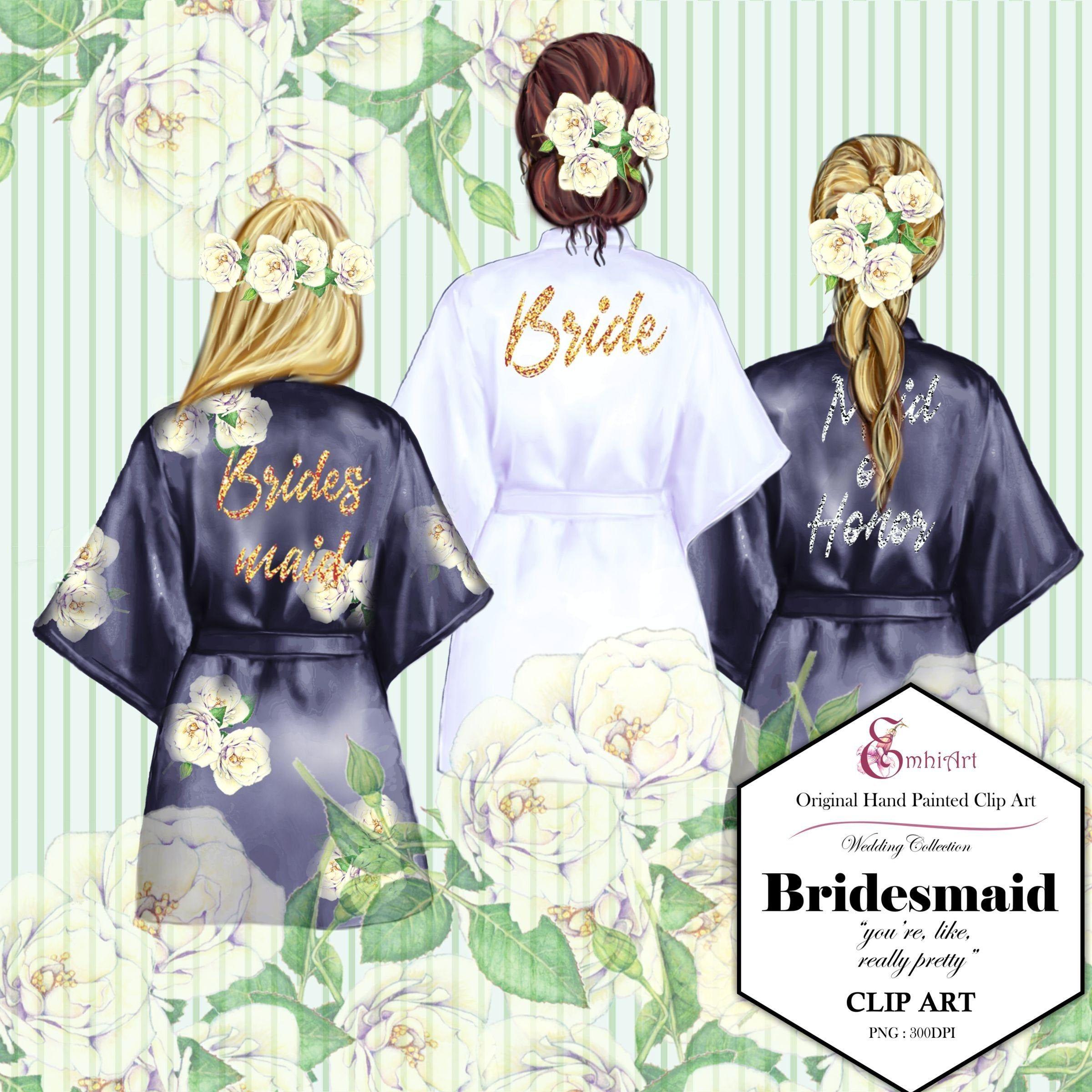 Bridesmaid robe clipartbride.