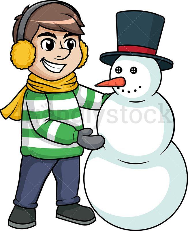 Man building snowman.