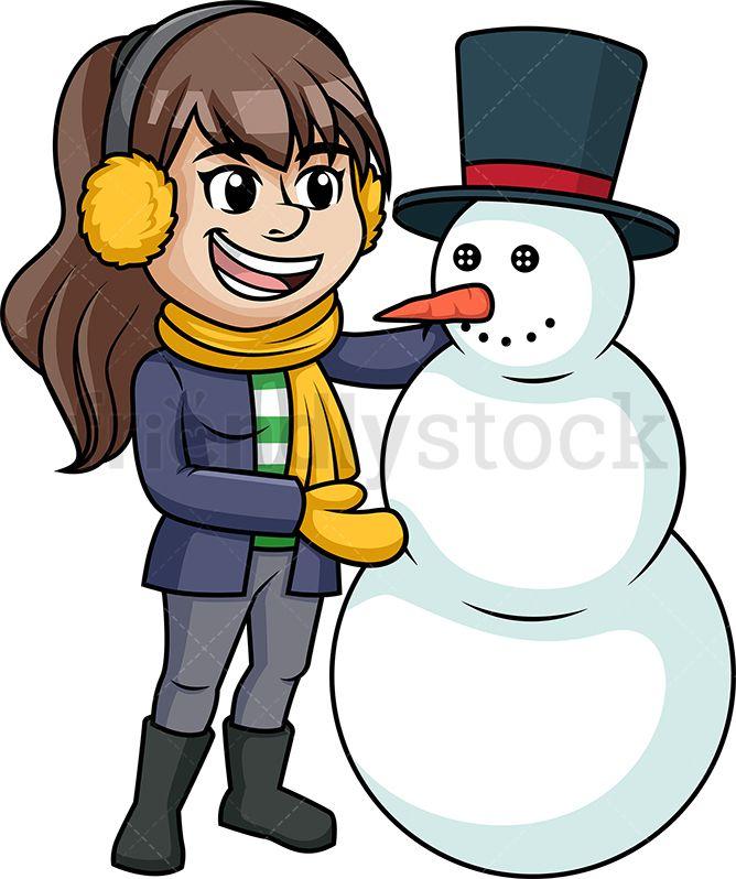 Woman building snowman.