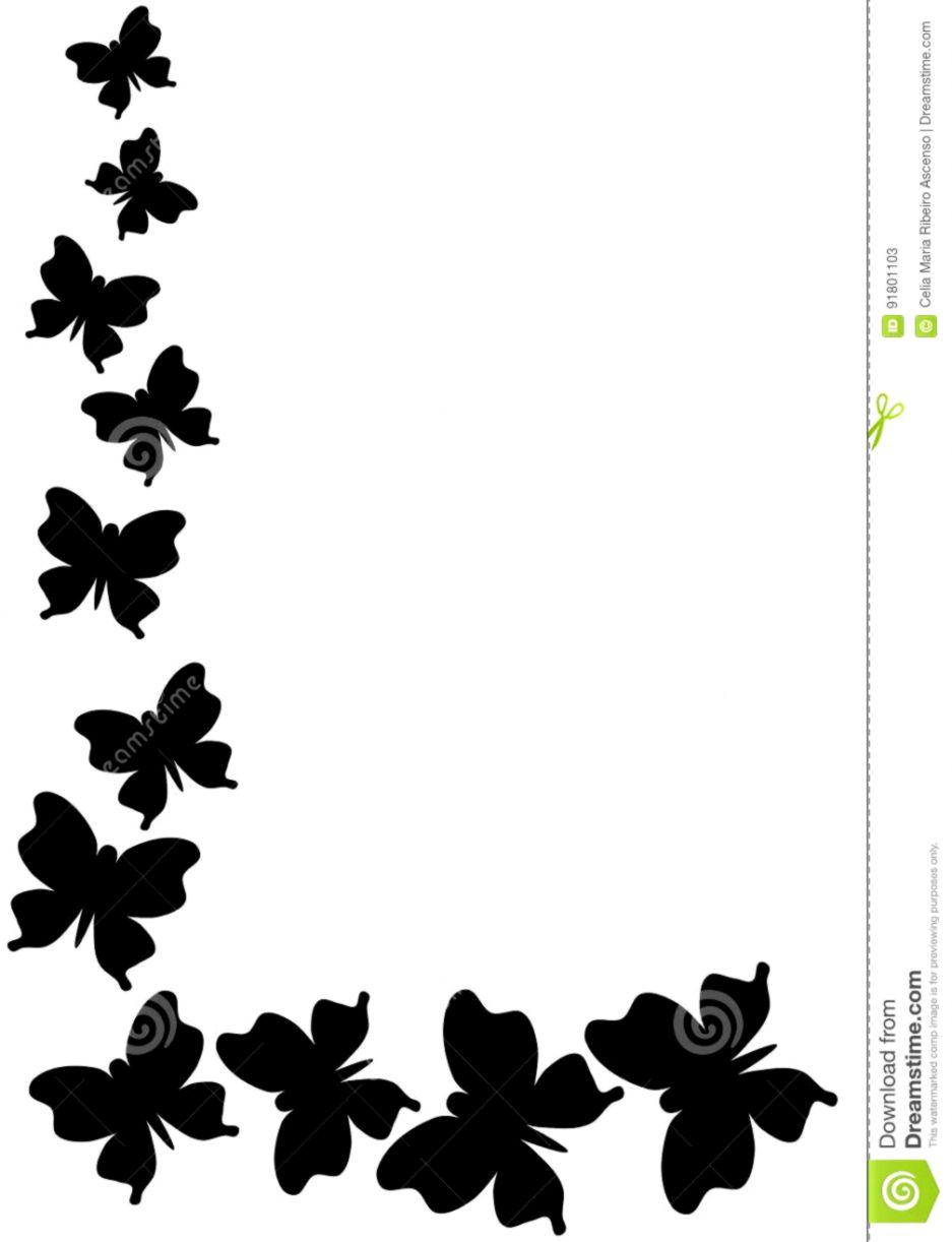 Butterfly border black.
