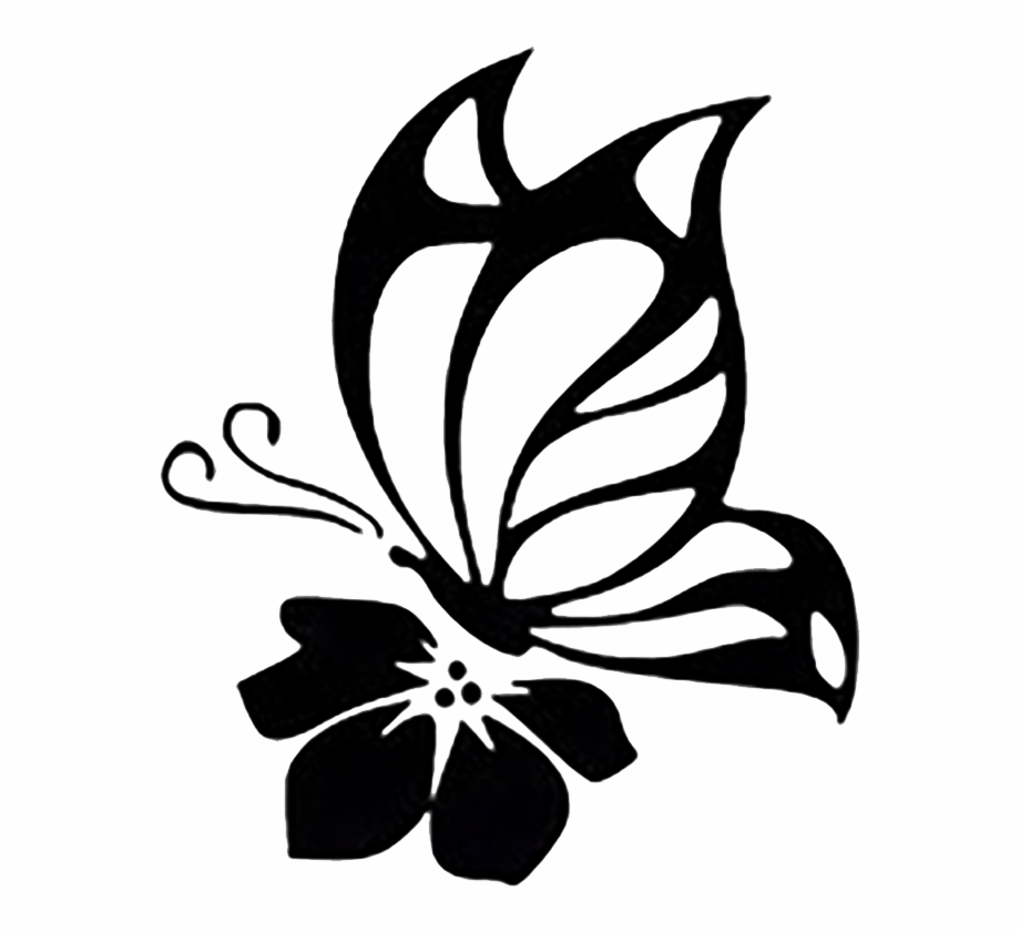 Butterfly flower decal.