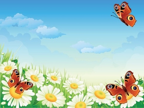 Butterflies and flowers clipart free vector download
