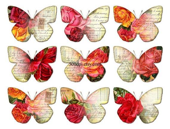 Vintage butterflies clipart.