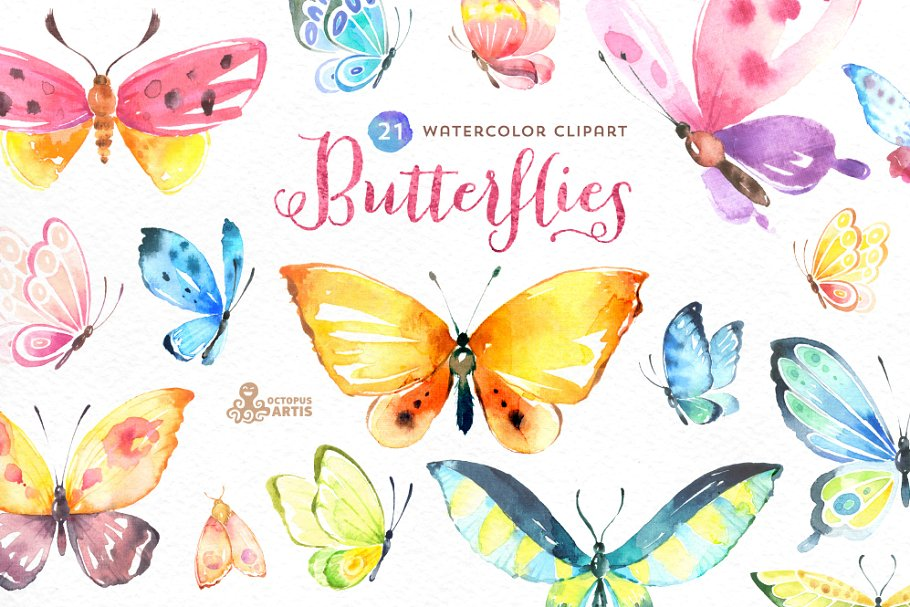 Butterflies watercolor set.