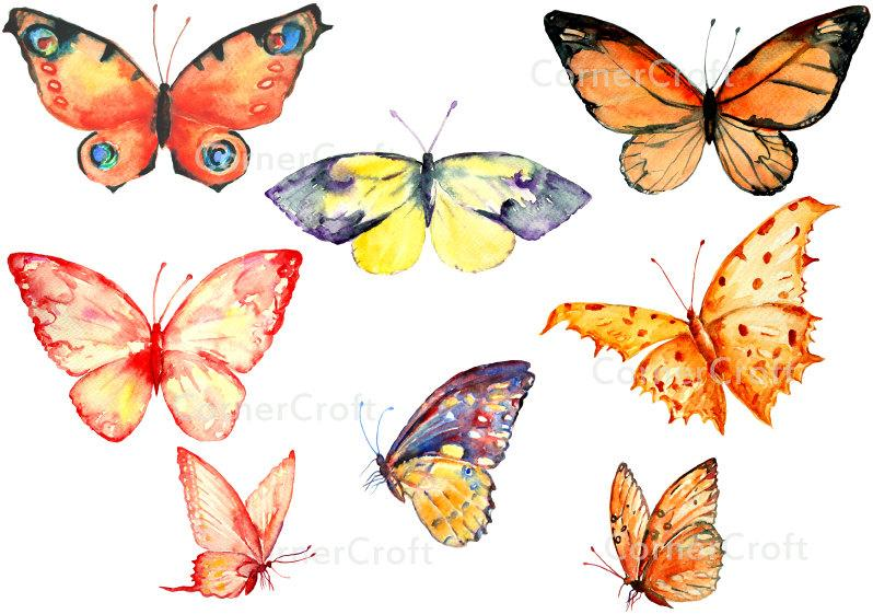 Watercolor clipart butterflies orange, red, yellow, butterfly clipart