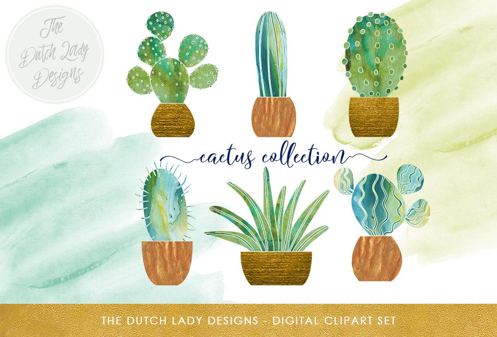Watercolor Cactus Clipart Set