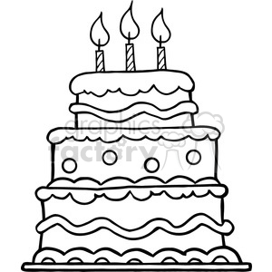 Blackwhitebirthdaycake clipart royaltyfree.