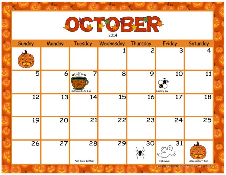 October calendar printable.