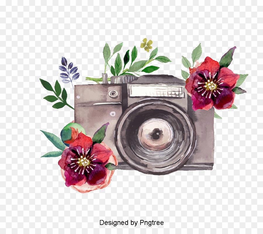 Watercolor Floral Camera PNG Watercolor Painting Camera