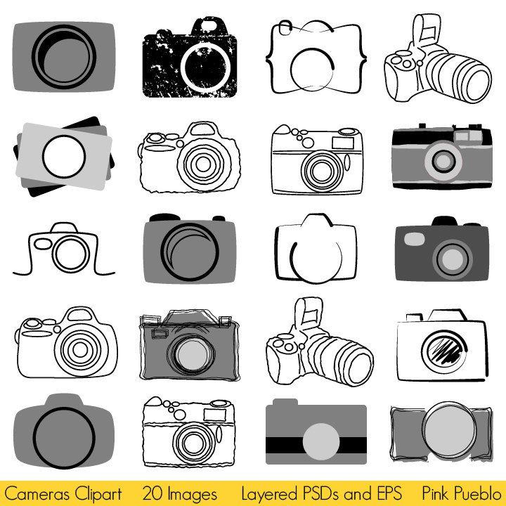 Camera Clipart Clip Art, Photography Logo Elements, Layered