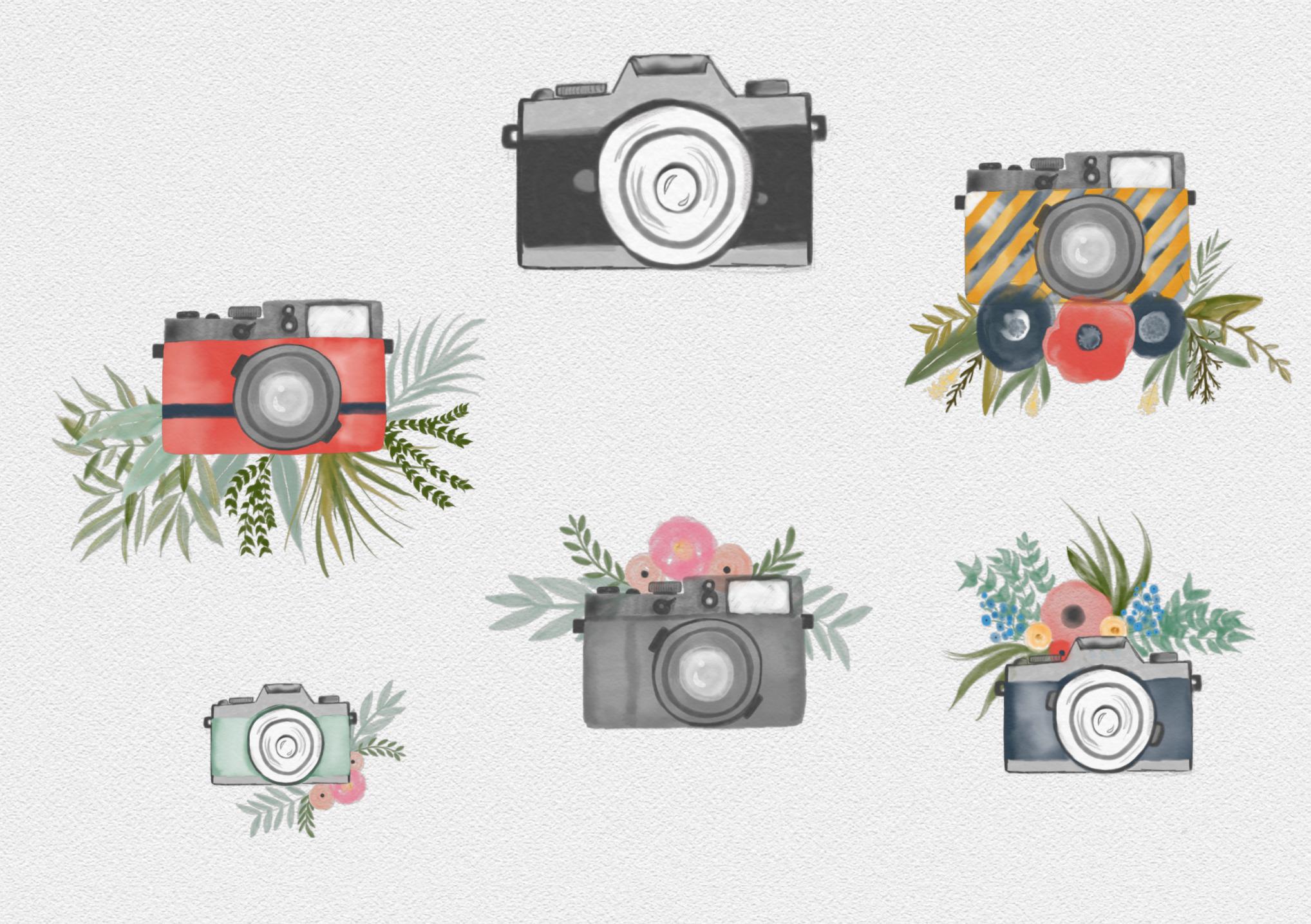 Watercolor camera clipart.