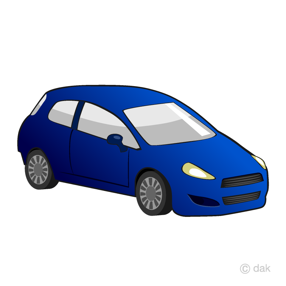 Free Blue Compact Car Clipart Image