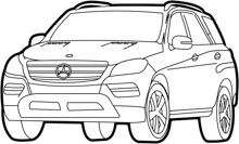 Free Black and White Cars Outline Clipart