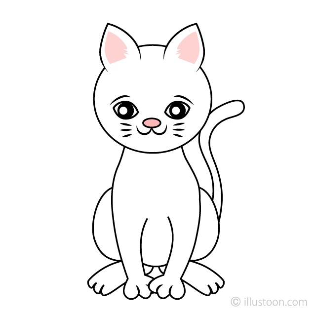 Free Cute White Cat Clipart Image