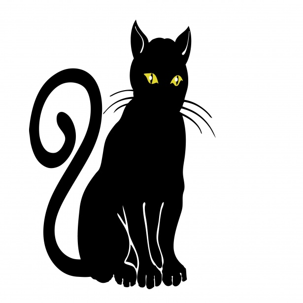 Black cat clipart.