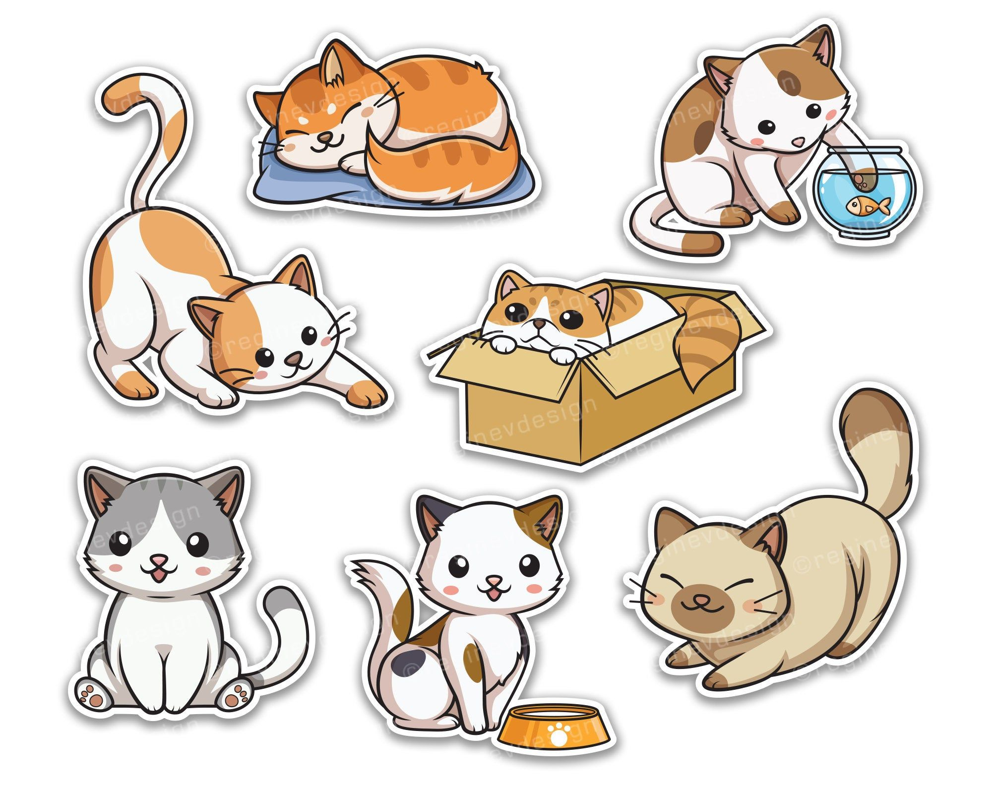 Cute Cat Clipart, Kitten, Sticker, Pussycat, Vector, Kawaii