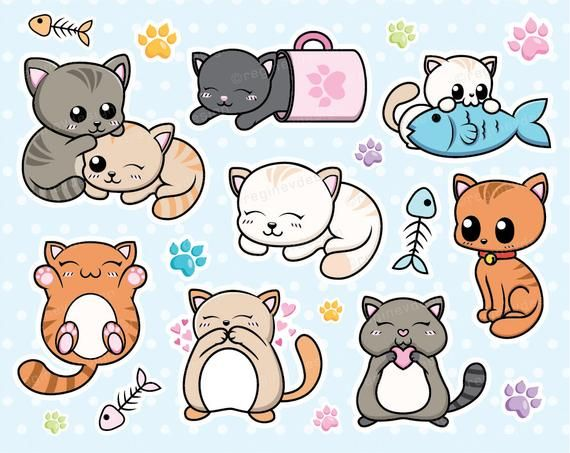 Cat Clipart, Kitten, Cats, Kitty, Vector Graphics, Chibi