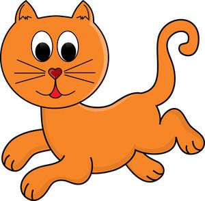 Orange cat clipart.