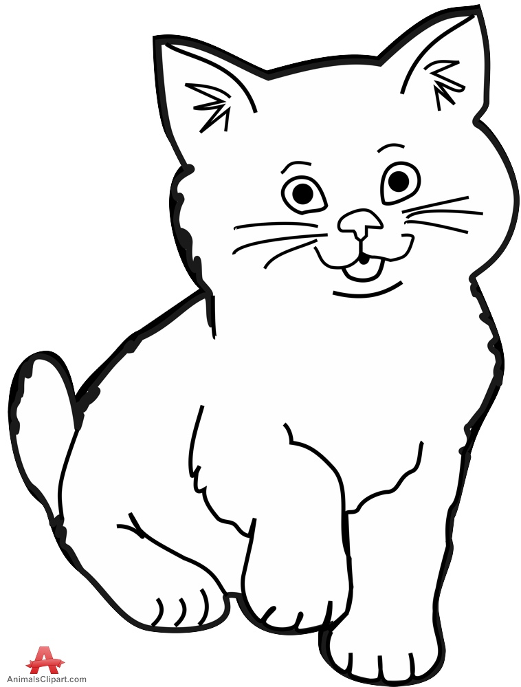 Free Cat Black And White Outline, Download Free Clip Art