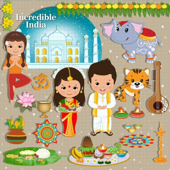 Incredible India clipart, India, Indian, ethnic, celebration