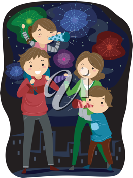Illustration family celebrating.