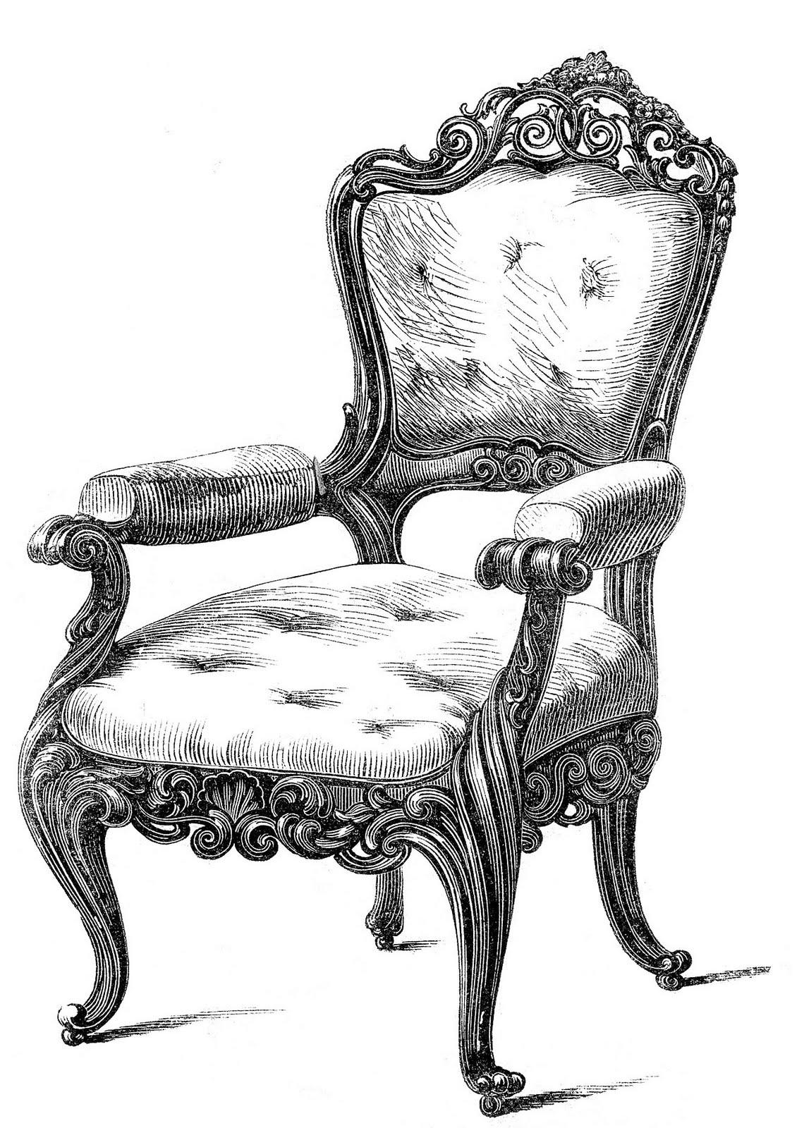 clipart of furniture vintage