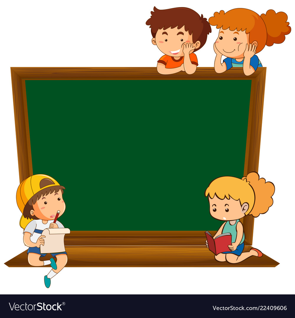 Chalkboard clipart blank. Children on