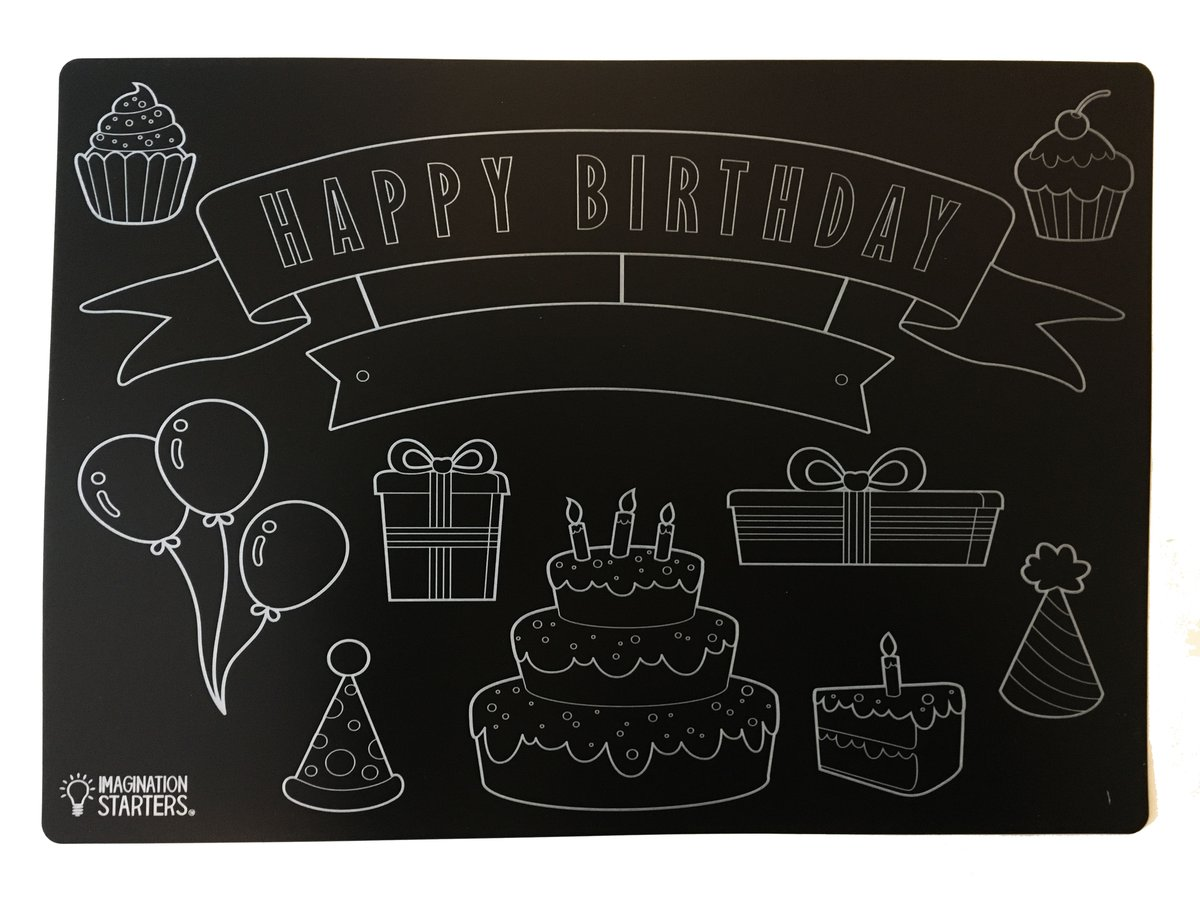 Chalkboard clipart blank. Reversible happy birthday and