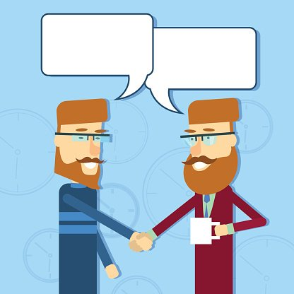 Two Casual Business Man Greeting Shake Hands With Chat