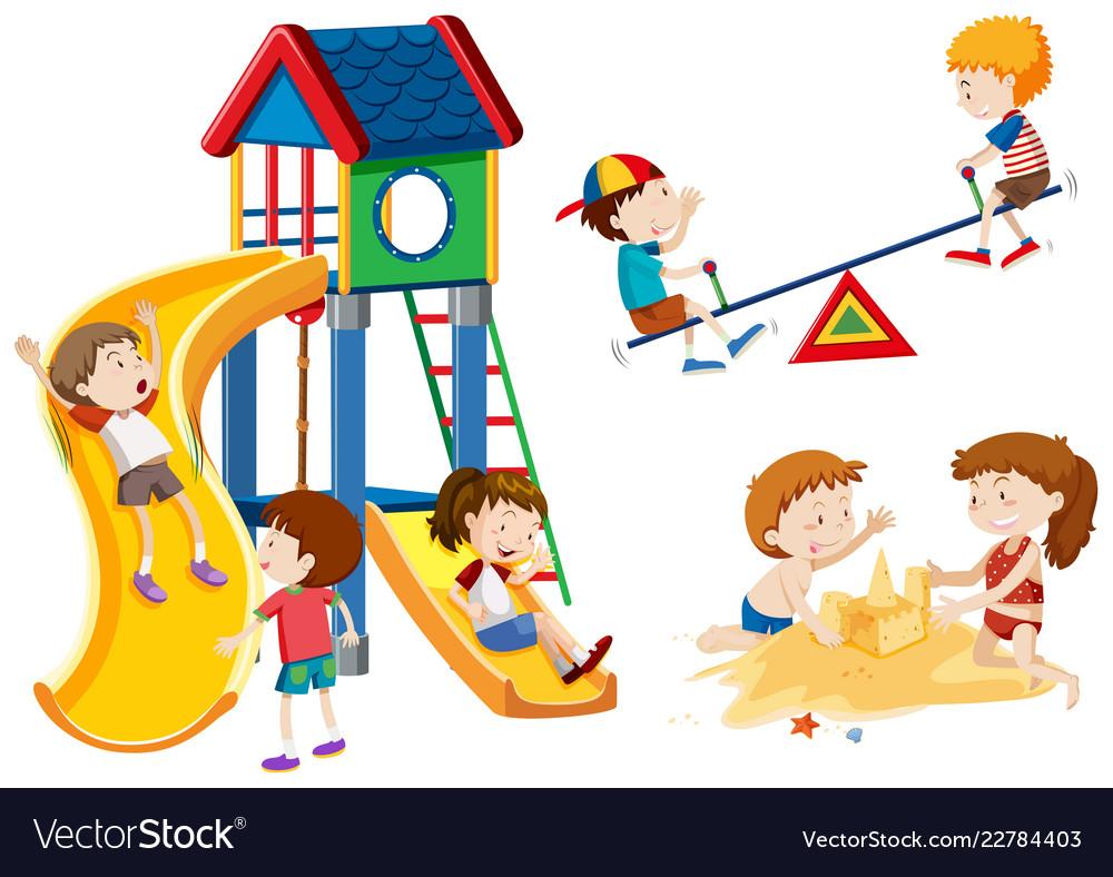 Kids playing playground.